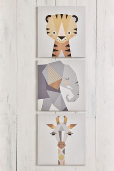 Set of 3 Animal Canvas By Little Design Haus Wall Art