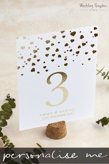 Personalised Confetti Foil Table Number Card by Wedding Graphics