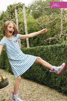 Joules Blue Stripe Riviera Capped Sleeve Dress