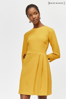 Warehouse Yellow Kilt Pleat Mini Dress