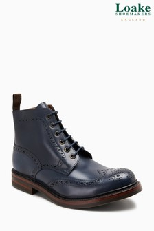 Loake Navy Beadle Burnished Brogue Boot