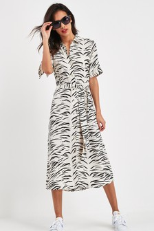 Print Short Sleeve Shirt Dress