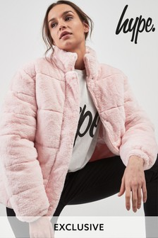 Hype. Pink Faux Fur Padded Jacket