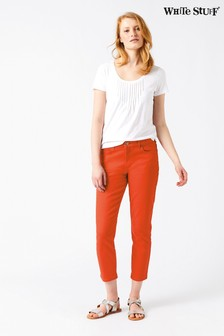 White Stuff Orange Southern Seas Straight Crop Trouser
