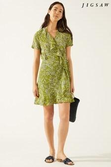 Jigsaw Green Lime Leaf Silk Wrap Dress