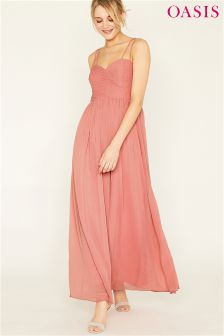 Oasis Pink Lucy Chiffon Pleated Bow Back Maxi Dress