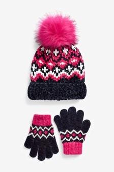 2件式帽子和手套套裝 (大女孩)