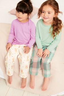 Check/Mouse Woven Pyjamas With Jersey Glitter Spot Tops Two Pack (9mths-8yrs)