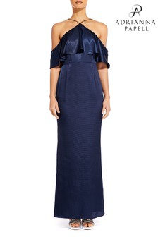 Adrianna Papell Blue Hammered Satin Dress