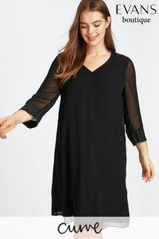 Evans Black Ribbed Neck Hotfix Dress
