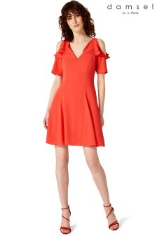 Damsel Red Juna Cold Shoulder Dress
