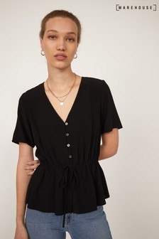 Warehouse Black Drawstring Waist Top