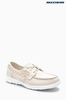 Skechers® Natural Go Walk Lite Mira Natural Canvas Boat Shoe