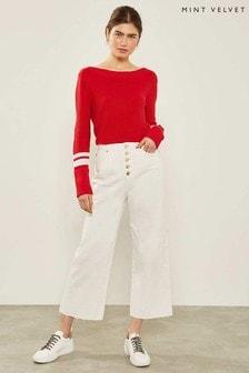Mint Velvet Madison Jeans mit Knöpfen, Weiß