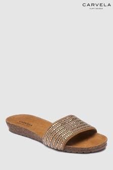 Carvela Comfort Bronze Suede Embellished Slider
