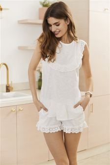 Broiderie Frill Short Set