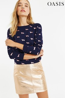 Oasis Blue Foil Daschund Sweater