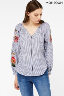 Monsoon Navy Anya Embroidered Stripe Blouse