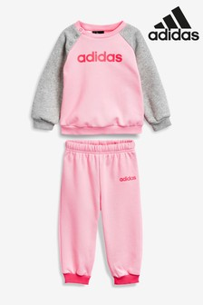 adidas Infant Pink Linear Sweater And Joggers Set