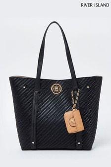 River Island Black Embossed Pouch Shopper Bag