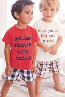 Lot de deux pyjamas en tissu à carreaux avec slogan (9 mois - 8 ans)