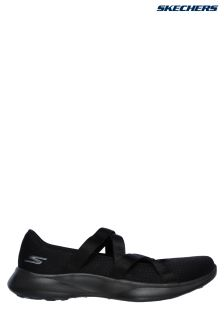 Skechers® Black Knit Ballet Flat With Satin Straps