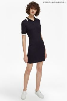 French Connection Navy/Black/White Polo Dress
