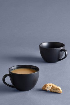 Set of 2 Black Speckle Hug Mugs