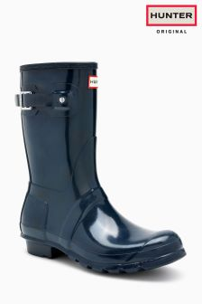 Hunter Navy Gloss Original Short Welly