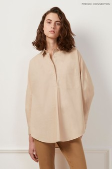 French Connection Brown Laselle Poplin Concealed Placket Shirt