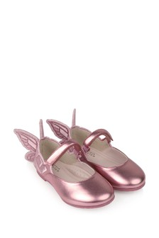 Girls Metallic Pink Leather Shoes