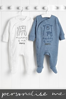 2 Pack Personalised Mummy Daddy And Me Sleepsuits