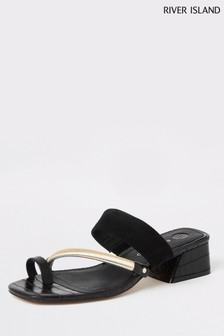 River Island Black Low Block Heel Tow Loop Sandals