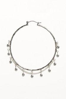 Bead And Chain Detail Hoop Earrings