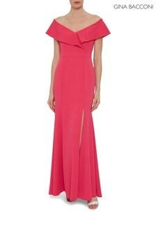 Gina Bacconi Pink Maira Crepe Maxi Dress