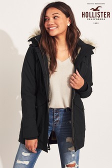 Hollister Black Faux Fur Lined Parka Jacket