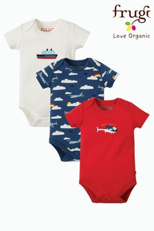 Frugi Organic Blue/Navy/Red And Aeroplane Print Bodysuits Three Pack