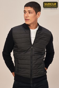 Barbour® International Black Baffle Zip Through Knit