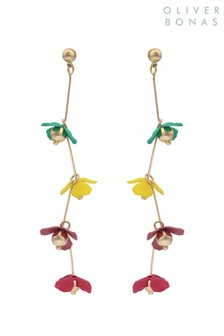 Oliver Bonas Gold Tone Daisy Chain Flower Drop Earrings