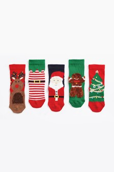 5 Pack Christmas Socks (Younger)