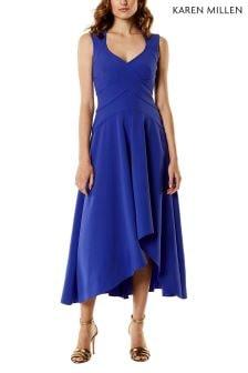 Karen Millen Blue Fluid Wrap Dress