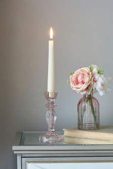 Pink Glass Taper Candlestick