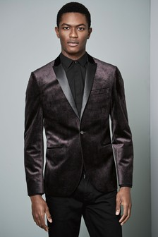 Printed Velvet Slim Fit Dinner Jacket