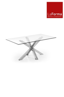 Arya Chrome Glass Dining Table By La Forma