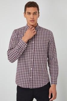 Koszula w kratę z czesanej tkaniny z długim rękawem