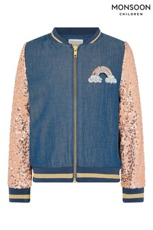 Monsoon Blue Sequin Unicorn Denim Bomber Jacket