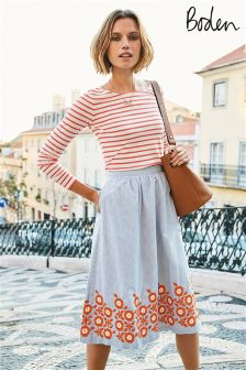 Boden Blue And Ivory Stripe Haidee Embroidered Skirt
