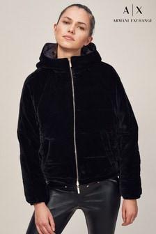 Armani Exchange Black Velvet Bomber Jacket
