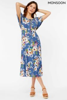 Monsoon Blue Lori Print Lace Up Midi Dress
