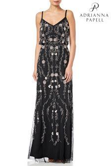 Черное платье с напуском и цветочным рисунком Adrianna Papell